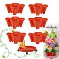 CHAOMIC Stackable Planter Pots Vertical Gardening Flower Pot Tower Strawberry Stacking Garden Pots 7 Tier with Saucer (Red)