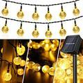 Solar String Lights, 50 LED Crystal Globe Solar String Lights Outdoor Waterproof Solar Lights with 8 Modes Solar Powered Patio Lights for Garden Yard Home Party Wedding Christmas Decor (Warm White)