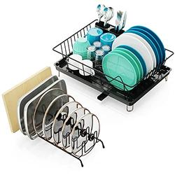Dish Drying Rack, Packism Dish Rack with Drainboard, Utensil Holder, Anti Rust Dish Drainer for Kitchen Countertop Drying Rack with an Extra Pot Lid Organizer, Lid Holder Black