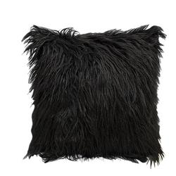 Mercer41 1Pc Nordic Posh Style Home Decor Super Soft Plush Mongolian Faux Fur Throw Pillow Cover Cushion Case Square Multi Colors 20Acrylic in Black
