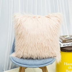 Mercer41 1Pc Nordic Posh Style Home Decor Super Soft Plush Mongolian Faux Fur Throw Pillow in White/Brown, Size 17.7 H x 17.7 W x 0.1 D in | Wayfair