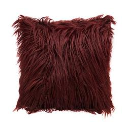 Mercer41 1Pc Nordic Posh Style Home Decor Super Soft Plush Mongolian Faux Fur Throw Pillow Cover Cushion Case Square Multi Colors 20Acrylic in Red