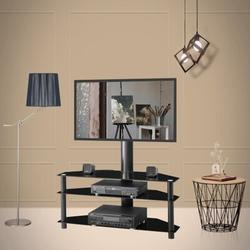 Symple Stuff Black Multi-Function Angle & Height Adjustable Tempered Glass TV Stand in Black/Brown, Size 19.29 H x 4.72 W in   Wayfair