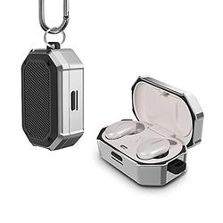 UAYH Compatible with Bose QuietComfort Earbuds Case Cover, Full-Body Military Grade Protective Case with Keychain for Bose QuietComfort Noise Cancelling Earbuds,[Front LED Visible] Silver