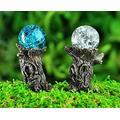 Miniature Fairy Garden Tree Stump Gazing Ball Picks - Set of 2 - Buy 3 Save $5 Garden Decor Outdoor Decor Yard Decor Garden Statues Outside Decor Yard Garden Accessories Yard Decorations Clearance