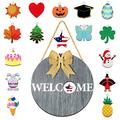 Wooden Seasonal Welcome Door Sign, Round Wood Front Door Sign Interchangeable Welcome Wood Sign Wooden Hanging Welcome Sign with Burlap Bow, 16 Piece Seasonal Ornament for Farmhouse Decoration (Gray)