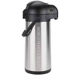 Personalized Stainless Steel Lined Airpot with Lever   Airpot Thermal Coffee Carafe and Coffee Server/Lever Action/Stainless Steel/Heat Retention & Cold Retention (3L Airpot)