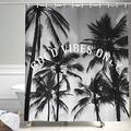 JAWO Beach Shower Curtain, Summer Palm Tree Funny Quotes Good Vibles Only Shower Curtain Sets, Tropical Fabric Bathroom Curtain, Fabric Shower Curtain Hooks Includes, 69x72