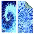 BIAOSU Beach Towel Microfiber Sand Free Towels with Zipper Pocket -Quick Dry Super Absorbent Lightweight Beach Towels Two Side Printed for Gilrs Women 2Pack(tie-Dyed-2 Blue)