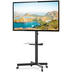 Rfiver Mobile Rolling TV Cart w/ Wheels & Tilt Mount For Most 27-60 Inch Plasma LCD LED Flat Screen Or Curved Tvs in Black, Size 24.4 W x 17.7 D in