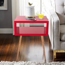 Everly Quinn MIRROR END TABLE MIRROR NIGHTSTAND END&SIDE TABLE (Wire Red)MIRROR END TABLE MIRROR NIGHTSTAND END&SIDE TABLEWood/Stainless Steel