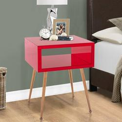 Everly Quinn Mirror End Table Nightstand End Side TablePlastic/Acrylic in Red/Yellow, Size 23.22 H x 17.91 W x 15.16 D in | Wayfair