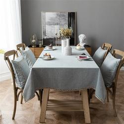 Gracie Oaks Solid Color Waterproof Table Cloth Imitation Cotton & Linen Embroidery Polyester in Gray, Size 86.0 W x 55.0 D in | Wayfair