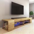 Selsey MITCHELL - Meuble TV / Meuble de salon (effet chêne wotan, 180 cm, avec LED)