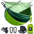 Camping Hammock with Mosquito-net, Portable Travel Hammocks Parachute Lightweight Nylon with Tree Straps Garden Net Hammock for Outdoor Backpacking Hiking Lightweight Bed (Green/Ink Green)