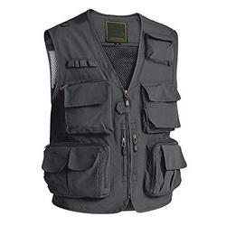 Cargo Vest Men Fashion Travel Vest with Multi Pockets Photo Journalist Vest Breathable Outerwear Vest for Men Athletic Vest