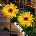 MIAGI Outdoor Solar Garden Stake Lights,Waterproof,Upgraded LED Solar Powered Light with 3 Sunflower, Solar Decorative Lights for Lawn ,Patio, Yard ,Garden.(2Pack)