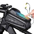 """Bike Phone Mount Bag, Bicycle Waterproof Front Frame Top Tube Handlebar Bag Touch Screen Phone Holder Compatible with iPhone Xs/XR / 8 Plus/Samsung S9 / S8 Up to 7"""" Smartphone (White Letter)"""