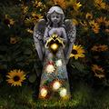 Garden Angel Figurines Outdoor Decor, Praying Angel Welcome Solar Powered LED Garden Light, Guardian Angel Garden Statue for Patio Lawn Yard Porch Decoration, Housewarming Garden Gift A