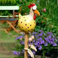 OFOCASE Funny Chicken Garden Decor, Resin Rooster Chicken Desktop Decoration, Garden Sculptures Statues for Outside, Farm Animal Patio Yard Lawn Decoration, Morning Funny Rooster Home Decor (Yellow)