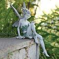Sitting Fairy Statue, Angel Art Wall Sculpture, Garden Realistic Figurine Decor, 3D Angel Art Statue Decor, Home Table Ornaments, Garden Lawn Yard Art Porch Patio Outdoor Decorations (Angel Statue B)