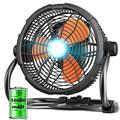 """Rovtop 12"""" High Velocity Floor Fan, Rechargeable Outdoor Indoor Fan, 16000 mAH Cordless Portable Battery Operated Fan Run for 4.5-18 Hours, 360° Adjustable Tilt Industrial Camping Fan with Led Light"""