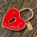 Coach Other   Coach - Red Heart Keyhole Padlock Pendantkey Fob   Color: Red/Silver   Size: Os