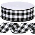 """Winlyn 50 Yards Black and White Buffalo Check Plaid Wired Ribbon Gingham Ribbon 2.5"""" Wide for Christmas Tree Wreath Bows Festive Farmhouse Decoration Gift Wrapping Crafts Floral Arrangement"""