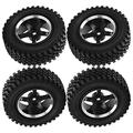 VGEBY RC Tires 4Pcs RC Metal Hub Tires Remote Control Wheel Hub Rubber Tires Replacement Fit for MN86 1/12 RC Car(Black)