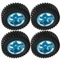 VGEBY RC Tires 4Pcs RC Metal Hub Tires Remote Control Wheel Hub Rubber Tires Replacement Fit for MN86 1/12 RC Car(Blue)