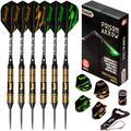IgnatGames Steel Tip Darts Set - Professional Darts with Aluminum Shafts, Rubber O'Rings, and Extra Flights + Dart Sharpener + Innovative Case + Darts Guide (Poison Arrow)