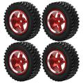 VGEBY RC Tires 4Pcs RC Metal Hub Tires Remote Control Wheel Hub Rubber Tires Replacement Fit for MN86 1/12 RC Car(red)
