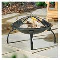 ZSEFV Outdoor Fire Pits Folding Steel Fire Pit, Wood Burning Fire Bowl Portable Outdoor Camping BBQ Grill Fire Bowl with Screen Cover Fire Pit Tables for Outside Patio