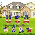 Olgaa 7 pcs 4th of July Yard Sign USA Star Gnomes Yard Signs Outdoor Lawn Decorations Independence Day Yard Signs with Stakes for Home Garden Lawn Décor