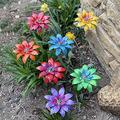 Daylily Flower Garden Stakes Decor, Sculpture Whimsy Garden Art Metal Flower Decor, Mother's Day Metal Daylily Flower Garden Stakes, Plant Pick Waterproof Flower Stick for Lawn Yard Patio (7 PCS)