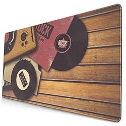 CANCAKA Large Gaming Mouse Pad,Player Vinyl Style Disco Dj Gramophone Record On Eighties Wooden View Abstract Vintage,Non-Slip Rubber Mouse Pads Mousepad for Gaming Computer Office Desk,75×40×0.3cm