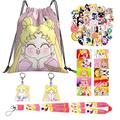 Sailor Moon Merch Gift Set, Including Sailor Moon Drawstring Bag Backpack, Sailor Moon Stickers, Lomo Cards, Lanyard, Keychain