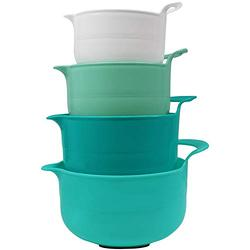 Blue Donuts Nesting Mixing Bowls Set of 4, Assorted Size Mixing Bowls for Kitchen, Mixing Bowls with Pour Spout, Mixing Bowl with Handle, Mixing Bowl Set with Non-Slip Bottom, Turquoise Ombre