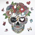 Sugar Skull Shape Wooden Jigsaw Puzzle Game - Sugar Skull Puzzle for Kids and Adult - Sugar Skull Puzzle Picture For Girls - Skullcap Jigsaw Puzzle Game For Kid - Training Brain Puzzle Game