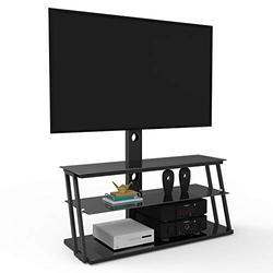 Pure Pang 32-65 Inch Rolling TV Stand with Wheels Mobile Television Stand with 3 Tiers Tempered Glass Shelves Multi-Function Height and Angle Adjustable TV Cart (Black)