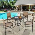 """Lark Manor™ Harrel Square 4 - Person 32"""" Long Picnic Table w/ Cushions Metal in Black/Brown, Size 36.25 H x 32.0 W x 32.0 D in 