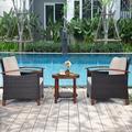 Lark Manor™ Pyburn 3pcs Patio Wicker Rattan Conversation Set Outdoor Furniture Set W/Beige CushionWood/Natural Hardwoods/Wicker/Rattan in Brown/White