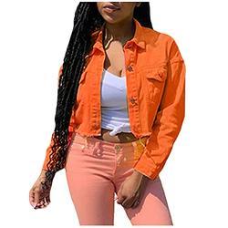 Denim Jacket Women,Jeans Jacket Coats Candy Color Casual Short Slim Denim Jacket