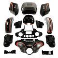 XFMT Motorcycle Complete Body Work Custom Fairings Saddlebags King Tour Pack Fender Gas Tank For Harley Electra Glide Ultra Limited FLHTK 15-Up, Black Honeycomb Fade CUSTOM CHROME