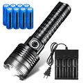Tokeyla Super Bright XHP60 Rechargeable Flashlight with 8PCS 3.7V 5000mAh 18650 Rechargeable Battery and Universal 4 Bay Battery Charger, 2200 Lumens 3 Modes Zoomable Flashlight for Camping Hiking