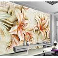 YTJBEI Photo Wallpaper Relief Lily Wallpaper Living Room Bedroom Office Corridor Decoration Murals Modern Wall Decoration 200 X 140 cm