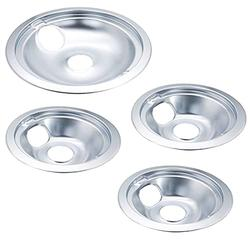 Ecumfy WB31T10010 and WB31T10011 Replacement Chrome Drip Pans, Includes 3 6-Inch and 1 8-Inch Pans (4 Pack), Replacement for GE/Hotpoint Range Cooktop