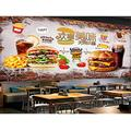 Wall decals Mural Wallpaper 3D ed Brick Wall Delicious Burger Fast Food Restaurant Tooling Background Wall Decor Wallpapers-177x118 inch