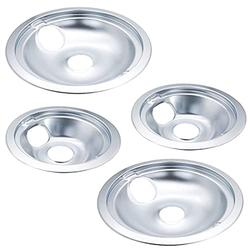 Ecumfy WB31T10010 and WB31T10011 Replacement Chrome Drip Pans, Includes 2 6-Inch and 2 8-Inch Pans (4 Pack), Replacement for GE/Hotpoint Range Cooktop