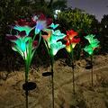 Lily Flower Outdoor Solar Lights Garden Decorations, Solar Powered Garden LED Lights Glass Flower Stakes, Solar Powered Landscape Lights for Pathway,Patio,Lawn,Garden,Yard Decor (4PCS)